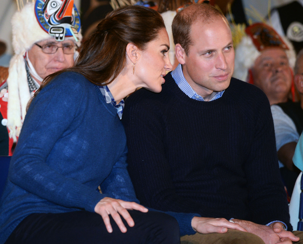 Kate shows affection for William. Photo / Getty