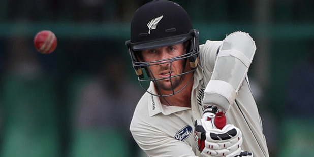 Loading Luke Ronchi bats on the fifth day of their first cricket test match against India at Green Park Stadium. Photo / AP