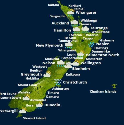 MetService Weather map. Photo / MetService