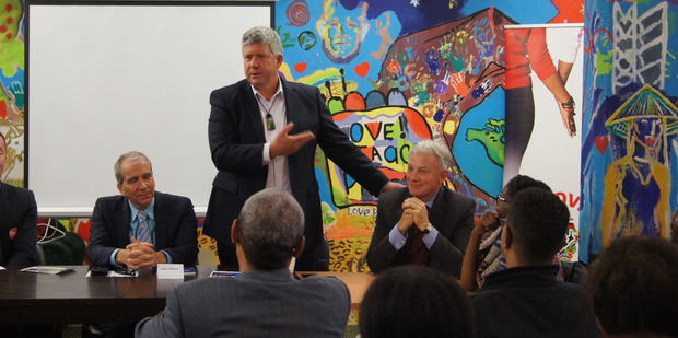 David Hay announces his support for Phil Goff (right) while John Palino (left) sits by. Photo / Brittany Keogh