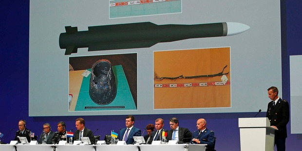 Wilbert Paulissen of the Joint Investigation Team speaks on the preliminary results of the MH17 investigation. Photo / AP