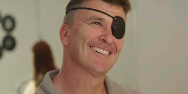 Ross Bannan was left blind in one eye after an accident while building his family's home. Photo/TV3