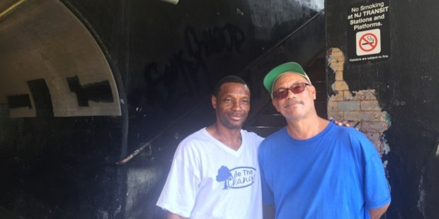 Lee Parker and his friend Ivan White outside the Elizabeth, New Jersey, train station, where Parker picked up an abandoned backpack and discovered pipe bombs in it. Photo / Don Goncalves