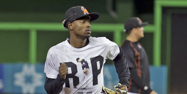 Miami Marlins second baseman Dee Gordon wears a T-shirt reading RIP in honour of pitcher Jose Fernandez. Photo / AP