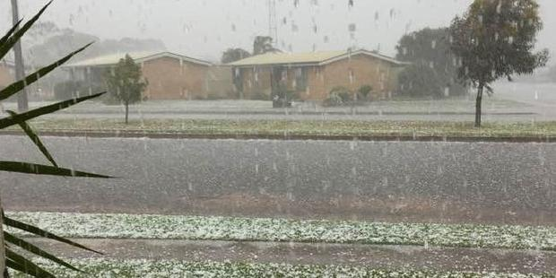 Loading Giant hail lashes Cleve, South Australia, as the storms battered the state. Photo / Julie Minge
