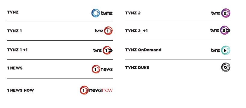 The full line up of new channel names.