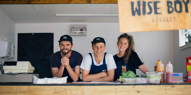 Left to right: Wise Boys co-founders Tim Burrows, Luke Burrows and Beka Gowan. Photo / Alex Young