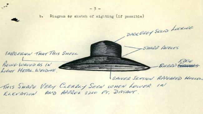 A completed section on an Australian UFO Report form from the National archives of Australia.