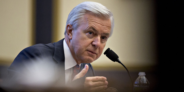 John Stumpf, chief executive officer of Wells Fargo speaks during a House Financial Services Committee hearing in Washington. Photo / Bloomberg