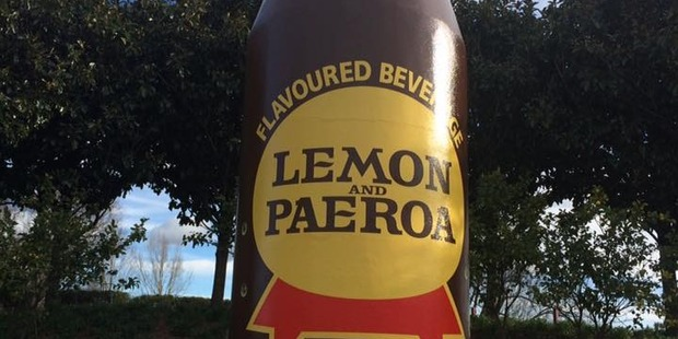 The iconic Lemon and Paeroa bottle in the town of Paeroa. Photo / Supplied