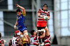Messiah Martin of Counties collects the ball from a lineout against Otago. Photo / photosport.nz