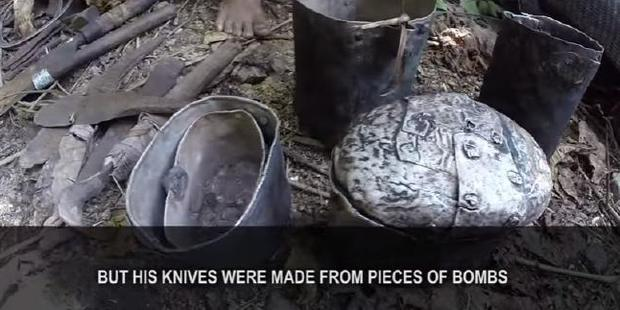 Lang's jungle tools were fashioned out of bombs and crashed helicopter parts. Photo / YouTube - Docastaway