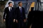 Leonardo DiCaprio and President Barack Obama. Photo / AP