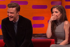 Justin Timberlake and Anna Kendrick reacting to Robbie Williams' story on the Graham Norton Show.