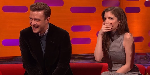 Loading Justin Timberlake and Anna Kendrick reacting to Robbie Williams' story on the Graham Norton Show.
