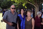 Keith Bremner, who is in a critical condition, is pictured here with daughter Loren, and wife Claire, who was fatally stabbed in Otorohanga last night.