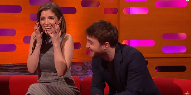 Anna Kendrick and Daniel Radcliffe react to Robbie Willaims' story on The Graham Norton Show.