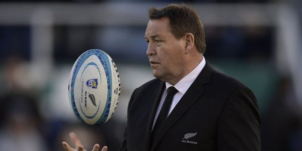 Steve Hansen gestures before the start of the Rugby Championship match against Argentina's Los Pumas at Jose Amalfitani stadium in Buenos Aires. Photo / AFP