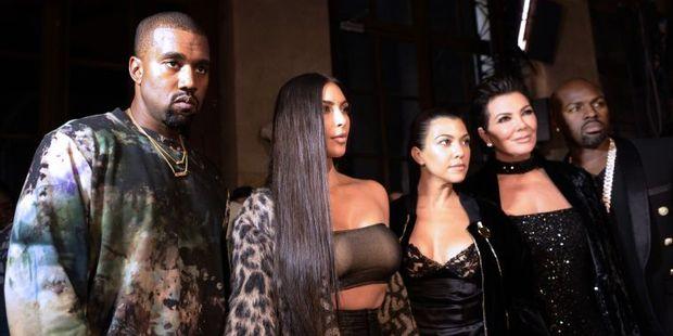 Kanye West, Kim Kardashian, Kourtney Kardashian, Kris Jenner and Corey Gamble. Photo / AFP