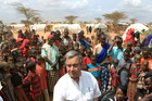 UN High Commissioner for Refugees Antonio Guterres is surrounded by Somali refugees earlier this year. Photo / AP