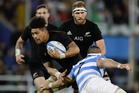 Ardie Savea is tackled by Argentina's Javier Ortega Desio. Photo / AP