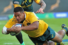 Wallaby prop Scott Sio scores a try against South Africa at Loftus Versfeld in Pretoria earlier this morning (NZT). Photo / Photosport