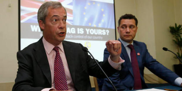 This photo from June shows UK Independence Party's Steven Woolfe, a Member of the European Parliament, right,with then leader of the party Nigel Farage. Photo / AP