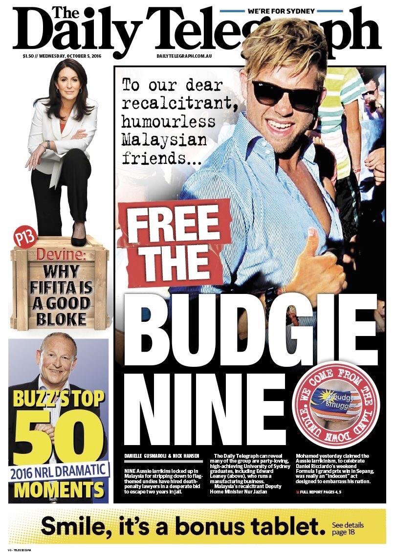 The Daily Telegraph's take on the 'Budgie Nine' story.