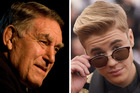 Sir Colin Meads wants to get his hands on some Justin Bieber tickets. Photo / NZH, Getty Images
