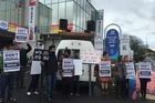 Indian students facing deportation for immigration fraud protest outside the office of National list MP Kanwaljit Singh Bakshi in Papatoetoe today. Photo / Joe Carolan, Unite Union