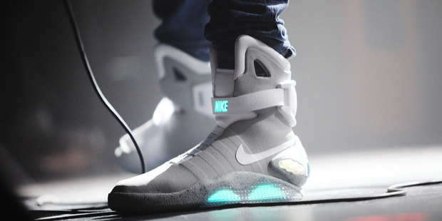A closeup of the Nike Back to the Future sneakers. Photo / Getty