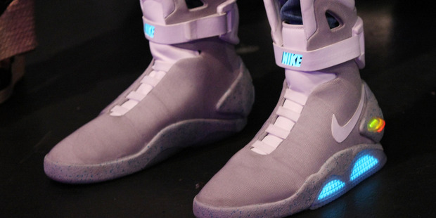 A general view of the Nike Back to the Future sneakers in New York City. Photo / Getty