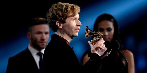 Recording artist Beck accepts the Best Rock Album award. Photo / Getty
