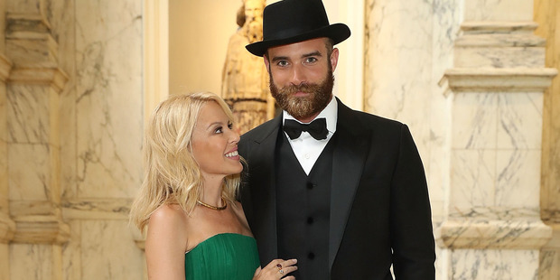 Kylie Minogue and Joshua Sasse attend the One For The Boys Fashion Ball. Photo / Getty