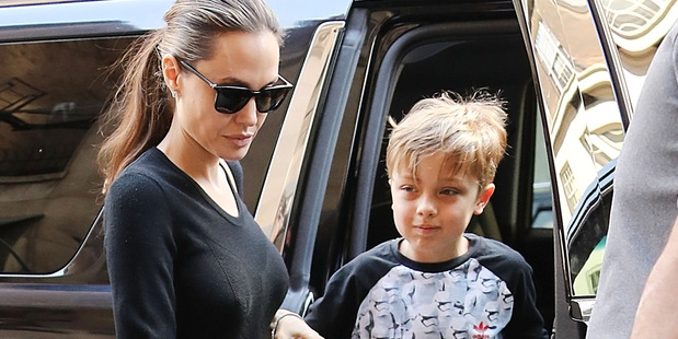 Actress Angelina Jolie, with her son Knox Jolie-Pitt are seen on June 18, 2016 in New York City. Photo / Getty