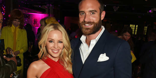 Kylie Minogue (L) and Joshua Sasse attend the World Premiere after party of Absolutely Fabulous: The Movie at Liberty on June 29, 2016 in London, England. Photo / Getty