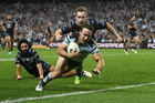 Sharks five-eighth James Maloney will play in his third grand final with three different clubs in six years in today's decider against Melbourne. Photo / Getty.