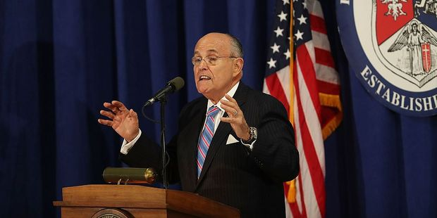 Rudolph Giuliani speaks before Donald Trump with Polish-American community members in Chicago last week. Photo / Getty