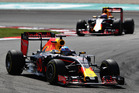 Daniel Ricciardo leads Max Verstappen during the Malaysian Grand Prix. Photo / Getty Images