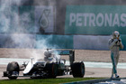 Lewis Hamilton retires from the Malaysian grand prix. Photo / Getty Images