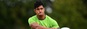 Lopeti Timani, 26, is one of seven overseas-born players set to start at Twickenham. He moved to Australia from Tonga at 18. Photo / Getty Images