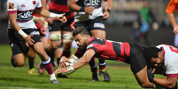 Richie Mounga of Canterbury dives over to score a try. Photo / Getty