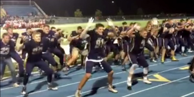 Loading The 35-second video, posted on the Facebook group Funny Tongan Memes/Vines, shows Middleton High School's football team in Idaho performing its version of the haka.