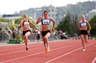 Rochelle Coster winning NZ 100m title in Dunedin. Photo / Alisha Lovrich