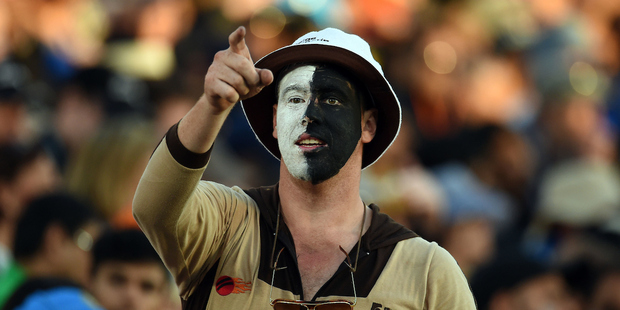 Blackcaps Fan cheering on during the ICC Cricket World Cup Semifinal match between New Zealand and South Africa at Eden Park. Photo / Photosport