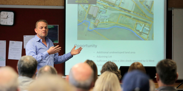 Consultant Phil Wardale presents the vision for the Whanganui Port Revitalisation Plan to business forum meeting on Monday.