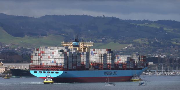The MV Aotea Maersk berths in NZ for the first time. Photo/John Borren