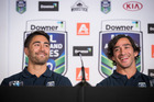Warriors halfback Shaun Johnson and Cowboys playmaker Johnathan Thurston during the NRL Auckland Nines announcement today. Photo / NZ Herald Greg Bowker.