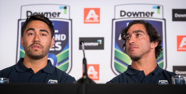 Johnathan Thurston (left) during the NRL Nines announcement on Tuesday. Photo / Greg Bowker