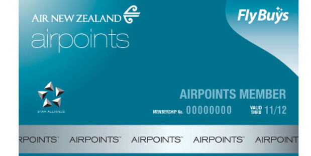 Air New Zealand airpoints loyalty card.